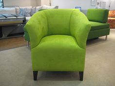 Designers Guild Mezzola - apple.  Looks so striking on this classic tub chair hand made to order.
