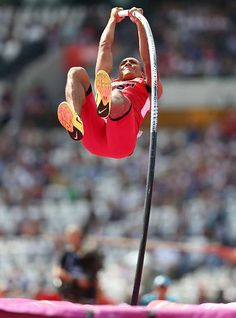Ashton Eaton finished third in the pole vault on his way to the decathlon gold medal. #london2012