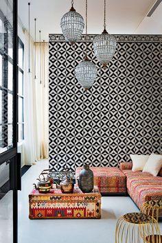 Pendant lamps. Wallpaper graphics. Batik!