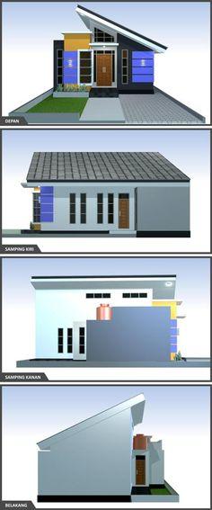 tampak-desain-rumah-minimalis-3-kamar Minimal House Design, Minimal Home, Small House Design, Home Design Plans, Plan Design, Beautiful Home Designs, Beautiful Homes, House Construction Plan, Modern Bungalow