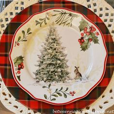 Christmas Table Setting Tablescape with Plaid Dinner Plate