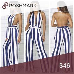Correo - carmenjfarfans@hotmai Playsuits, Jumpsuits, Plus Fashion, Fashion Tips, Fashion Trends, Dot Dress, Stripe Print, Wide Leg, Backless