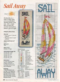Sail away cross stitch Cross Stitch Sea, Cross Stitch Quotes, Cross Stitch Bookmarks, Cross Stitch Books, Cross Stitch Needles, Cross Stitch Flowers, Cross Stitch Charts, Cross Stitch Designs, Cross Stitch Patterns