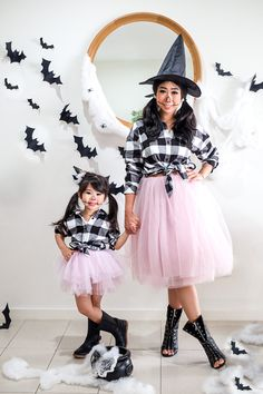 Twinning Halloween Style by @ivonehendarta in our Black + White Buffalo Shirt #beauhudson #halloween www.beauhudson.co  Twin Halloween, Halloween Fashion, Buffalo Shirt, Beau Hudson, Cuff Sleeves, Tees, Shirts, Tulle, Black And White