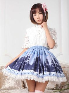 Sweet Lolita Skirt in Lace with Castles Print