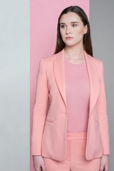 Find out the coolest new ways to wear pink in our new photoshoot. Blazer, Claudie Pierlot at Brown Thomas; t-shirt, H&M; trousers, Claudie Pierlot at Brown Thomas. Mode Editorials, Fashion Editorials, Jacket Style, Jimmy Choo, Editorial Fashion, High Fashion, Trousers, Glamour, Photoshoot