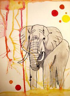 Elephant By Angé 2014 Moose Art, Elephant, Painting, Animals, Angel, Animales, Animaux, Painting Art, Elephants