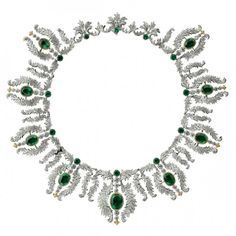 """This exquisite emerald and diamond necklace by Buccellati was part of the special """"Century of Creativity and Excellence"""" exhibition dedicated to Buccellati held in Cortina, Italy during the exclusive """"About J"""" show September 5 to 7."""