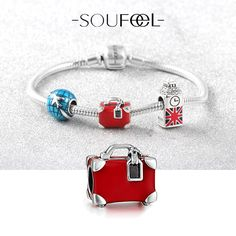 A Suitcase, A City And A Dream Bracelet 925 Sterling Silver,Soufeel Charms, for every memorable day!