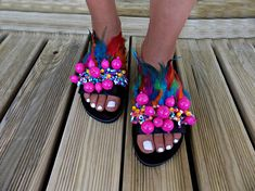 Greek Leather Sandals Feather sandals Madagascar