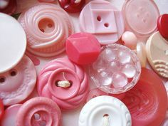 vintage pink buttons