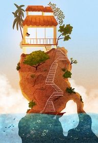 retreat #nidhi #tropical #romantic #getaway #island #vacation #illustration #art