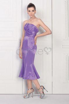 Meerjungfrau Blume Träger Blume Reißverschluss wadenlanges gerüschtes trägerloses Abendkleid