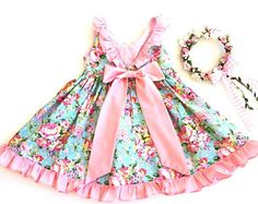 Girl's clothes, Shabby Chic Toddler Dress, Pretty Girl's Dress, Party Dress, Vintage style frilled dress. Size 1 Ready to Ship
