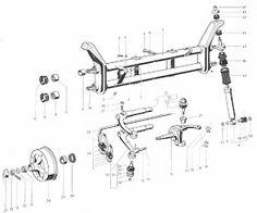 Esquema do eixo dianteiro do VW SP2 Porsche 914, Vw Minibus, Vw Dune Buggy, Vw Parts, Combi Vw, Sand Rail, Beach Buggy, Engine Repair, Small Engine