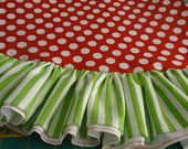 """72"""" red polka dots and lime green stripe whimsical Christmas tree skirt with ruffle."""