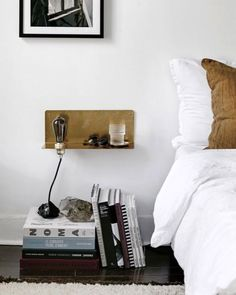 brass bedside shelf