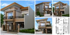 Modern house plan like Dexter model is a 4 bedroom 2 story house featured by pinoyeplans. Three meters from the front boundary or fence is a small porch which opens Four Bedroom House Plans, 4 Bedroom House Designs, My House Plans, 2 Story House Design, Small House Design, Modern House Design, Philippines House Design, Two Storey House Plans, Modern Bungalow House