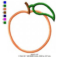3 sizes Peach Appliques Machine Embroidery by JungleSensations, $3.00