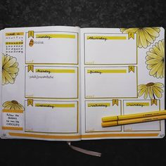 Bullet journal weekly layout, flower drawings, cursive daily headers. | @_journal_girls_