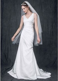 Strapless Satin V Neck Gown with Ruched Bodice AI10020539