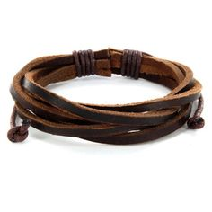 @Overstock - This stylish bracelet is made up of five intertwined leather strips with adjustable size slidign tie-knot closure. This bracelet measures 9.75 inches long.http://www.overstock.com/Jewelry-Watches/Brown-Twisted-Leather-Bracelet/5533293/product.html?CID=214117 $10.29