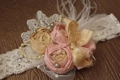 Shabby Chic Headband Pink and Champagne by AldonasBoutique on Etsy,