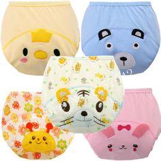 5ピース赤ちゃんトレーニングパンツ綿再利用可能な赤ちゃんのおむつ防水布おむつ洗えるおむつ竹学習パンツ