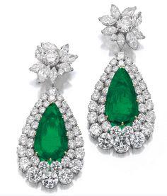 Emerald And Diamond Earrings - Van Cleef & Arpels, c.1970's