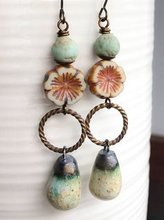 Long Bohemian Earrings with Artisan Ceramic Charms. Artisan