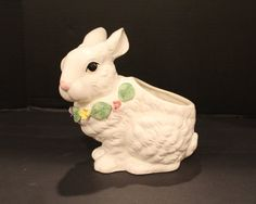 Vintage Ceramic Bunny Rabbit Planter Holland by vintagekitchenhome