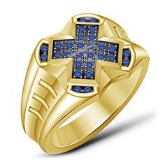 Men's Pinky Ring Blue Sapphire 14K Yellow Gold Round Cut Wedding Band 1.50 Carat #Silvergemsjewelry #WeddingBandRing #WeddingEngagementAnniversaryValentinesGift