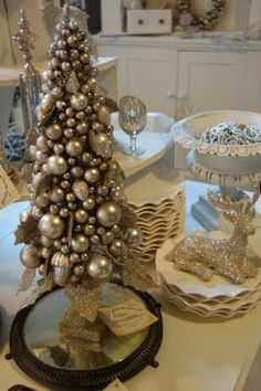 Lots more to come but here are a few. vintaged mercury finish urn with juniper available online here Snowy woodland house, cott. Blue Christmas Decor, Shabby Chic Christmas, Diy Christmas Tree, Silver Christmas, Christmas Love, All Things Christmas, Vintage Christmas, Christmas Holidays, Christmas Wreaths