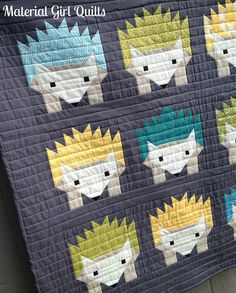 Hazel and the Hedgehogs {a finished quilt! Baby Boy Quilt Patterns, Baby Boy Quilts, Girls Quilts, Elizabeth Hartman Quilts, Fox Quilt, Summer Quilts, Quilt Material, Cute Quilts, Animal Quilts