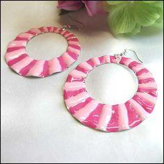 Funky Earrings Big Pink Enamel Hoops Fashion Jewelry   http://www.greatvintagejewelry.com/inc/sdetail/funky-earrings-big-pink-enamel-hoops-fashion-jewelry/14538