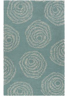 Potter Teal Blue Modern Hooked Wool Rug - skyiris.com - your source for designer contemporary and transitional area rugs