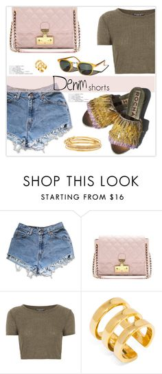 """Denim Shorts"" by marion-fashionista-diva-miller ❤ liked on Polyvore featuring Levi's, Garance Doré, Marc Jacobs, Topshop, BaubleBar, Kate Spade, jeanshorts, denimshorts and cutoffs"