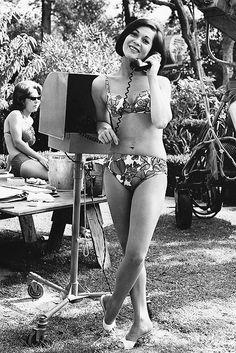 Nancy Kwan behind the scenes of Honeymoon Hotel...