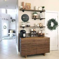 34 Coffee Station Ideas For Your Morning Buzz - Coffee bar ideas Coffee Bar Station, Coffee Station Kitchen, Coffee Bars In Kitchen, Tea Station, Coffee Bar Home, Home Coffee Stations, Coffee Shop, Space Station, Coffee Lovers
