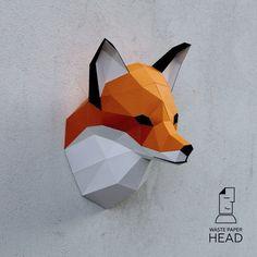 Papier Kopf Fox-digitale Druckvorlage von WastePaperHead auf Etsy