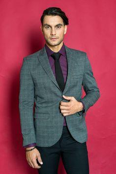 Κοστούμι γκρι καρό σε στενή γραμμή Κωδ:1420   Γαμπριάτικα κοστούμια Θεσσαλονίκη  Suit Jacket, Suits, Clothing, Jackets, Fashion, Outfits, Down Jackets, Moda, Fashion Styles