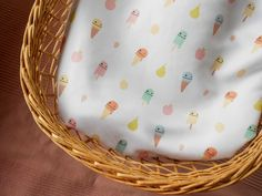 Baby Blanket Ice Cream | Reversible moses basket duvet | Stroller cotton blanket | ice cream fruit baby cover | Cotton blanket for baby Moses Basket Bedding, Modern Baby Bedding, Newborn Gifts, Baby Gifts, Beautiful Baby Shower, Baby Cover, Nursery Room Decor, Cotton Blankets, Cribs