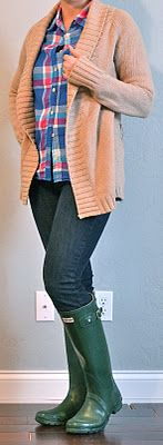 Outfit Posts: hunter boots, skinny jeans, bright plaid shirt, tan cardigan  outfitposts.blogspot.com