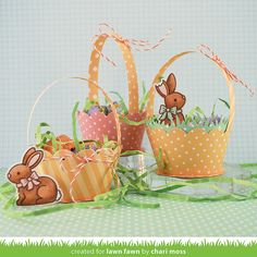 Lawn Fawn - Let's Polka Mon Amie, Eggstra Special Easter, Scalloped Cupcake Wrapper, Grassy Cupcake Wrapper, Lawn Trimmings _ Easter baskets by Chari for Lawn Fawn
