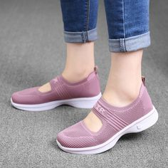 Women Outdoor Walking Air Mesh Breathable Elastic Band Sneakers Shoes