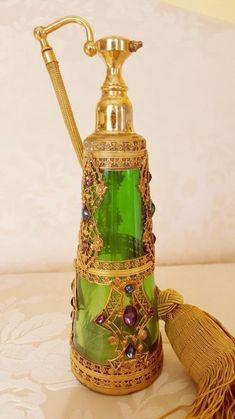 Antique Jeweled E & J B Empire Art Gold Green Glass Perfume Bottle Atomizer