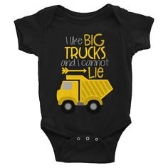 $16 Dump Truck Shirt - Truck Onesie - I Like Big Trucks and I Cannot Lie Boys Shirt - Funny Kids Graphic Shirt - Truck Baby Onesie Outfit Baby Boy Clothes
