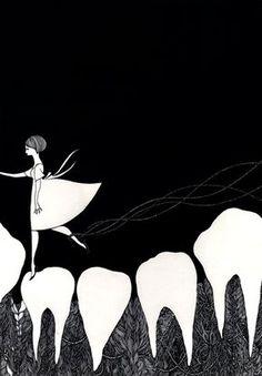 midori yamada area syoujyo - tooth fairy (cute print for the bathroom) Dental World, Dental Life, Dental Teeth, Japanese Painting, Japanese Art, Humor Dental, Dental Facts, Dental Hygiene, Dentist Art