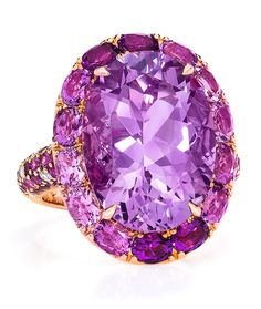 Cellini Jewelers Oval Amethyst Ring. Set in 18 Karat Rose Gold.
