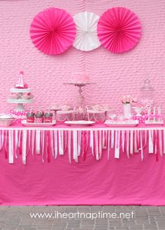 Love the ribbon on the front of the dessert table! Very sweet.